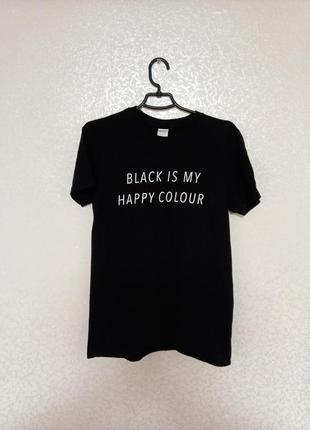 Черная футболка, с надписью