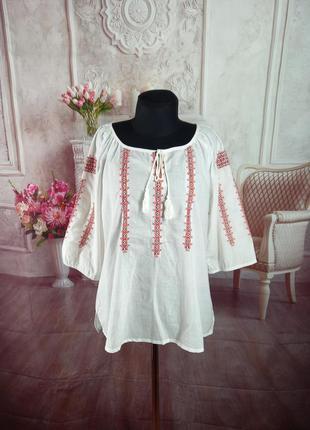 Стильная вышиванка блузка хлопок