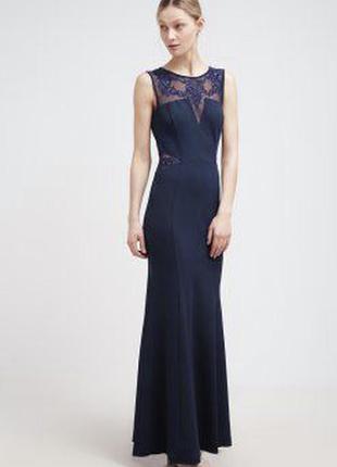 Вечернее макси платье lipsy синее с гипюром