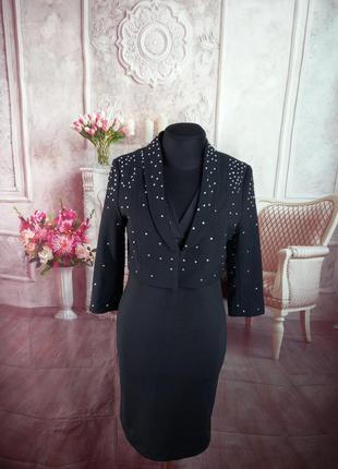 Стильный пиджак черный стразы