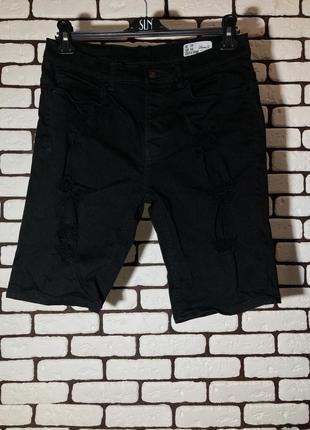 Чёрные , рваные шорты denim & co.