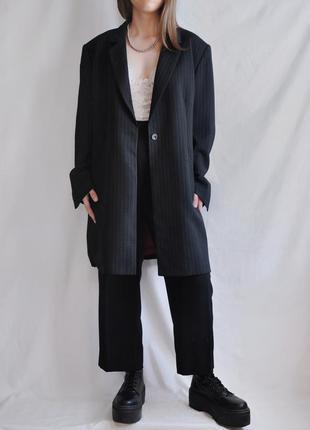 Пиджак пальто удлиненный в полоску черный шерсть шерстяной полосатый пиджак-пальто marks & spencer винтаж свободный прямой оверсайз