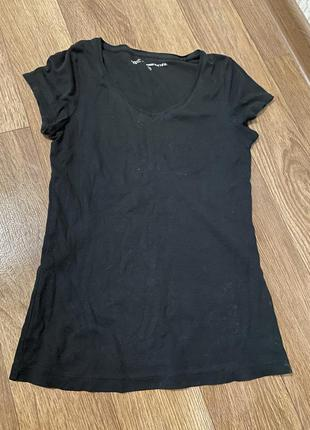 Классическая чёрная длинная натуральная котоновая хб футболка l