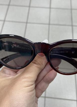 Женские солнцезащитные очки коричневые узкие лисички линзы с градиентом градиентом