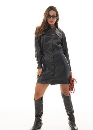 Кожаное платье на кнопках черное с длинными рукавами