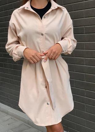Женское вельветовое платье рубашка свободного кроя