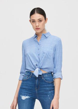 🔥вискозная рубашка cropp с завязкой на талии