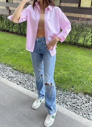 Розовая трендовая рубашка zara