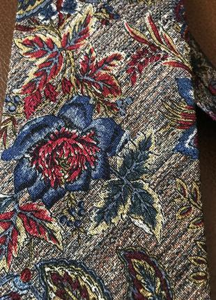 Красивый шелковый винтажный галстук шёлк принт цветы