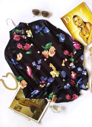 Черная рубашка оверсайз в цветочный принт сатин вискоза винтаж