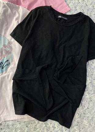 Базовая хлопковая футболка zara с завязкой из недавних коллекций