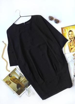 Черное платье миди кокон оверсайз cos
