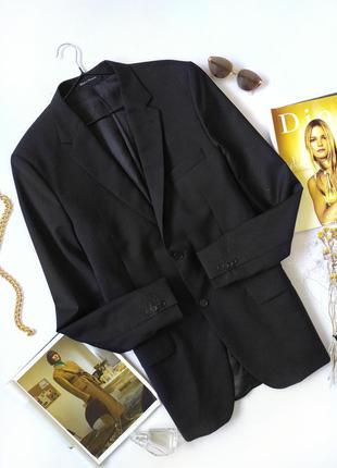 Черный удлиненный пиджак блейзер оверсайз шерсть винтаж h&m