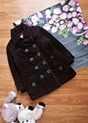 Детское вельветовое теплое брендовое осеннее пальто для девочки esprit - 2-3 года