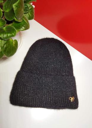 Новая вязаная шапочка с подворотом