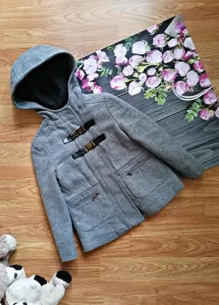 Детское брендовое серое осеннее утепленное пальто для девочки zara - возраст 4-5 лет