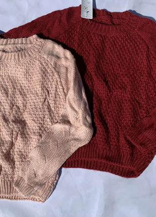 В'язана кофта кофтинка вязанная в'язана кофта коса светр червоний