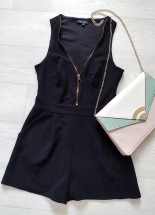 Чёрный ромпер new look с молнией спереди и карманами