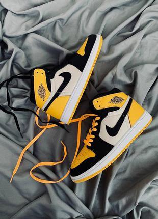 Кроссовки  nike air jordan 1 yellow toe