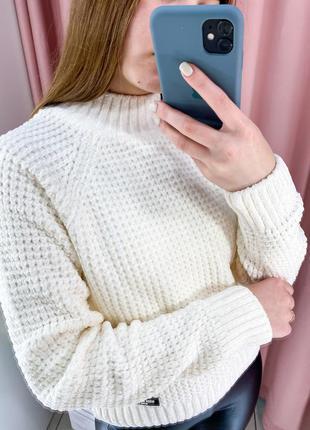Тёплый, плюшевый свитер (молочный, беж, серый, синий, темно-синий, ментол, бордо)