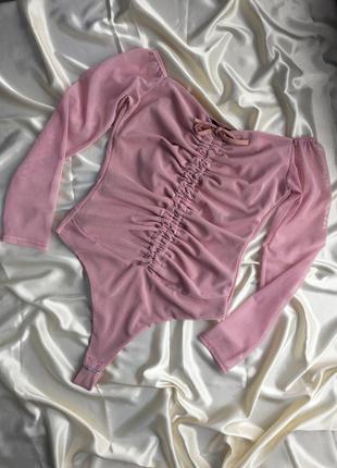 Боді/ комбідрес розовий з куліскою сіточка голі плечі