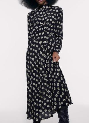 Сукня zara міді в квіточку
