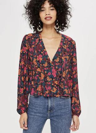 Шикарная цветочная блуза на запах