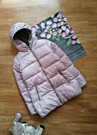 Детская теплая стеганая зимняя брендовая куртка еврозима benetton для девочки - 10-11 лет