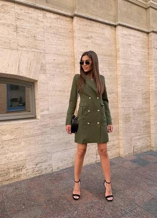 Платье-пиджак с длинным рукавом хаки
