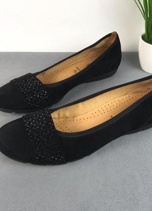 Замшевые черные туфли gabor, португалия 🇵🇹 натуральная замша и кожа