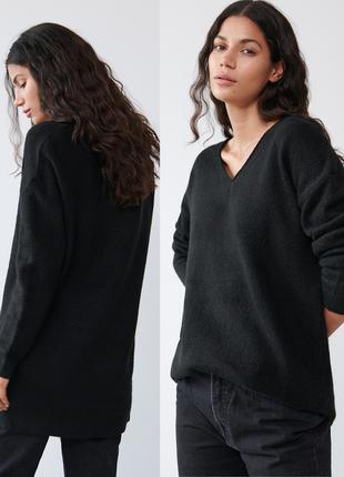 ❤️мягкий удлиненный свитер оверсайз с v-вырезом sinsay