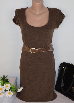 Брендовое коричневое нарядное мини платье с поясом jane norman made in eu акрил этикетка