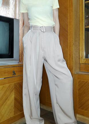Бежевые широкие брюки палаццо h&m