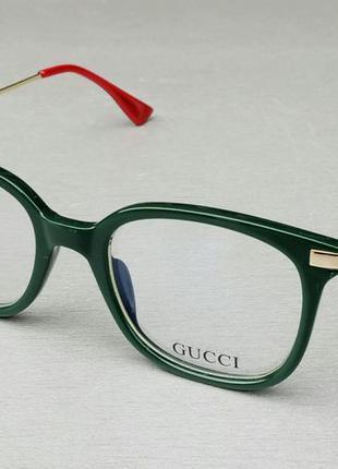 Gucci очки женские имиджевые оправа для очков зеленая с золотом