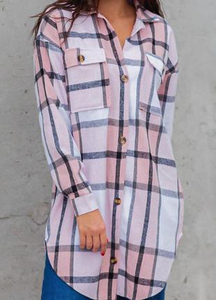 Рубашка. удлинённая кашемировая рубашка с принтом в клетку