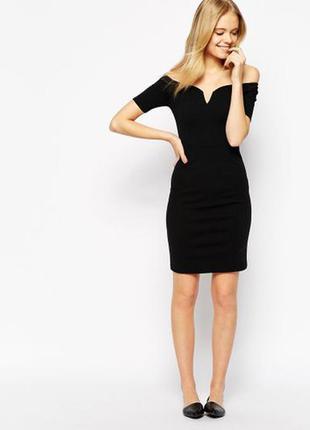 Vero moda платье чёрное по фигуре карандаш футляр с открытыми плечами с вырезом