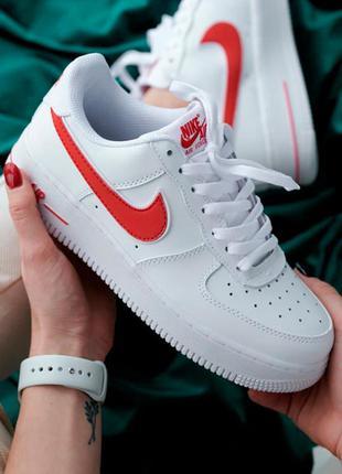 Кроссовки женские nike air force 1 белые красные / кросівки жіночі найк аир форс білі червоні кроссы