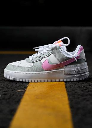 Кроссовки женские nike air force 1 shadow серые розовые / кросівки жіночі найк аир форс сірі кроссы