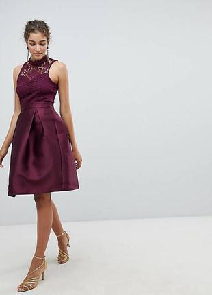 Ax paris платье новое бордо винное бордовое марсала бургунди миди кружево со свободной юбкой