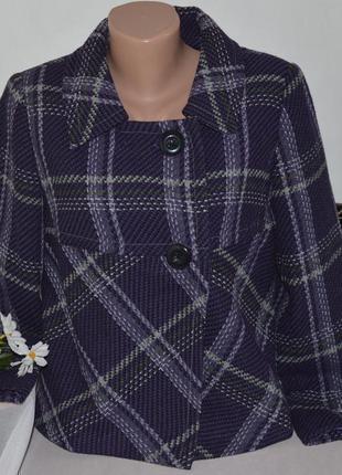 Брендовое фиолетовое демисезонное пальто полупальто жакет в клетку marks&spencer турция шерсть