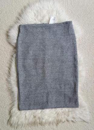 Плотная трикотажная юбка миди