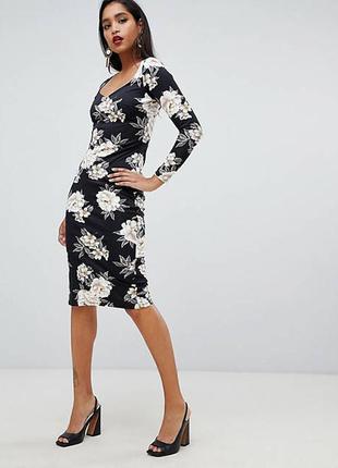 Asos платье чёрное в белый цветочный принт миди по фигуре карандаш футляр с рукавом