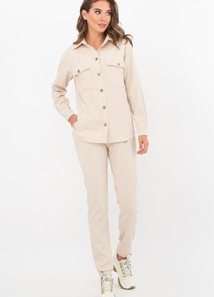Модный повседневный вельветовый костюм цвет светло -бежевый качество