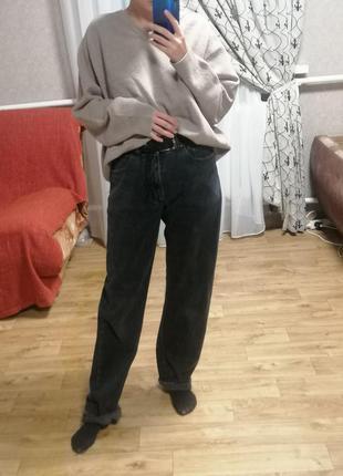 Трендовые широкие серо-чёрные джинсы marks&spencer