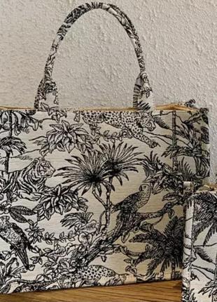 Новая большая  сумка шоппер из жаккардовой ткани коллекция 2021 года принт с подкладкой