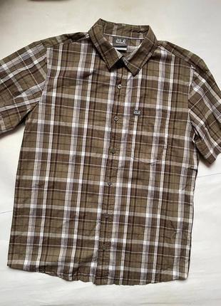 Jack wolfskin тенниска сорочка рубашка клетка туристическая тактическая