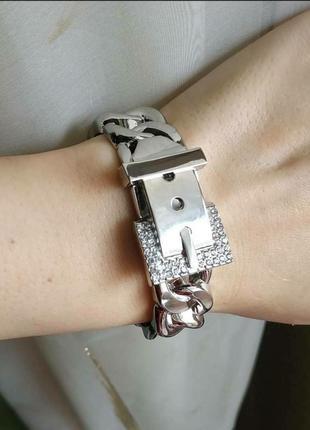 Браслет широкий серебро срібло на руку цепь цепочка