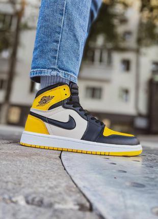 Женские / мужские желтые кроссовки nike jordan 1 retro high yellow