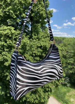 Сумка сумочка багет зебра полосатая клатч винтаж ретро