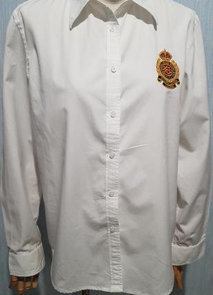Белая рубашка с вышивкой ralf lauren